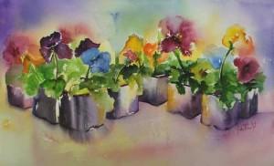 viooltjes in aquarel