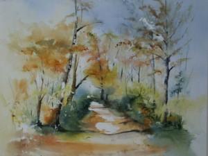 aquarel met bomen in opdracht